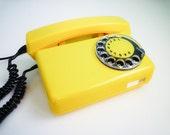 Vintage MINT dial rotary phone YELLOW lemon telephone black dial