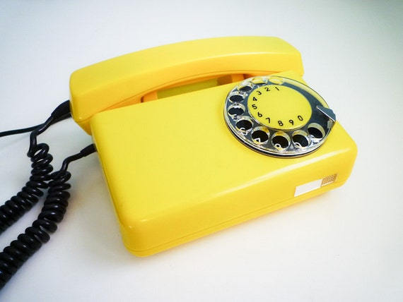 Vintage MINT dial rotary phone YELLOW lemon telephone black dial