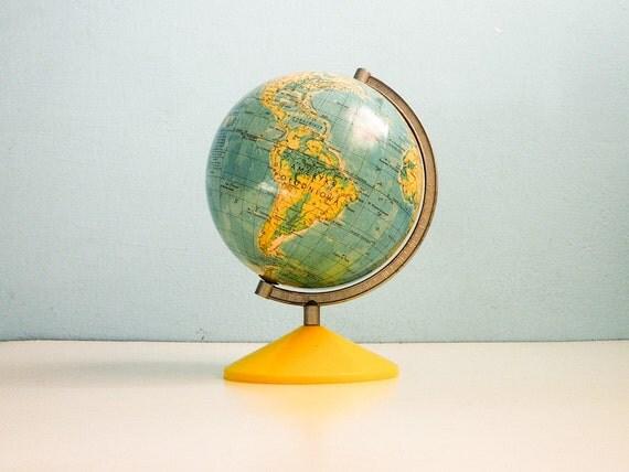 Vintage World Globe 6 inch paper map yellow base
