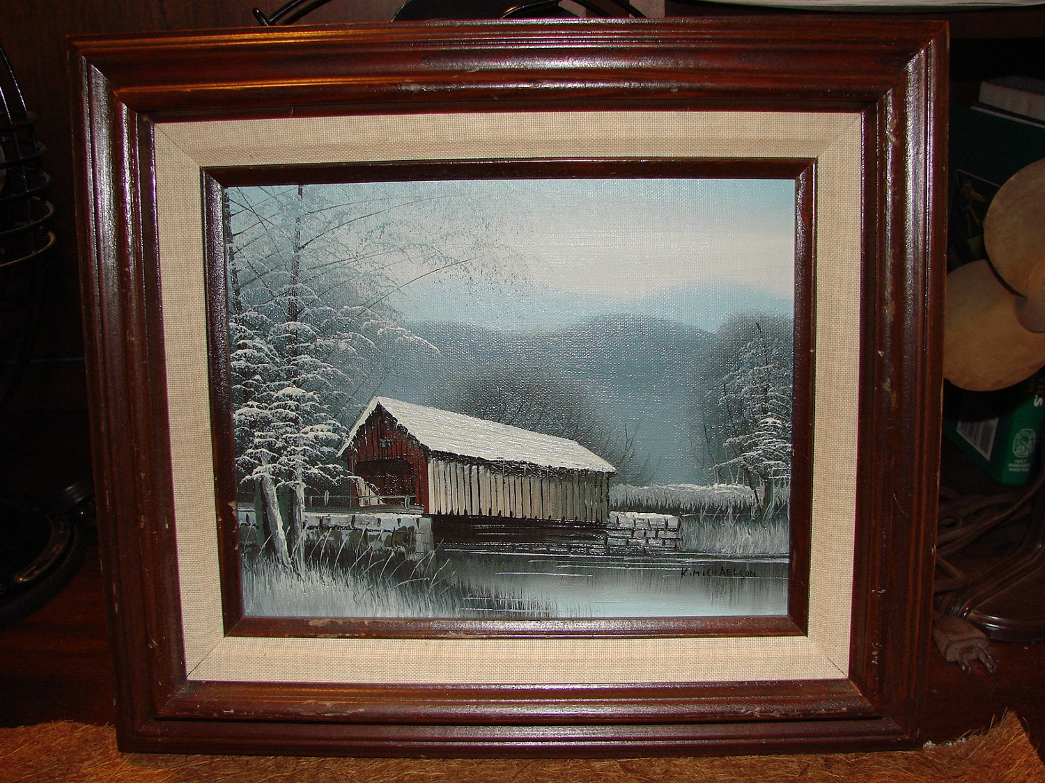 Original Oil Painting By K Michaelson Covered Bridge Winter