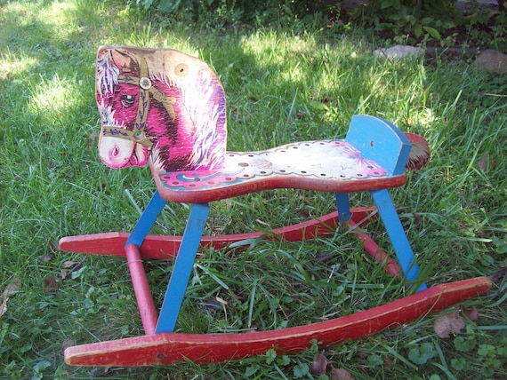 Gong bell Vintage rocking horse survived at MaryAliceFeltLikeIt on Etsy