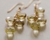 Yellow Lemon Quartz Stone Dangle Earrings 14k gold filled