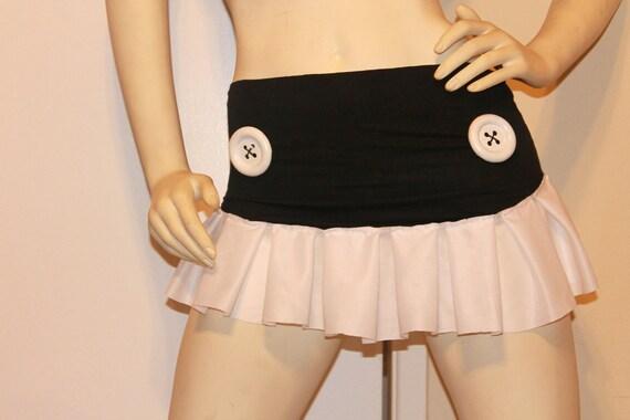 Button Skirt Mini Black & White