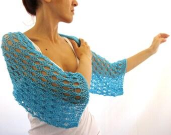 Turquoise COTTON SHRUG  ....Elegant Hand Knitted Summer Shrug