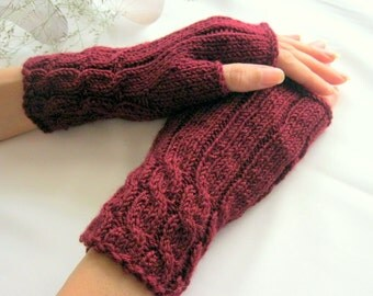 Burgundy Fingerless Gloves