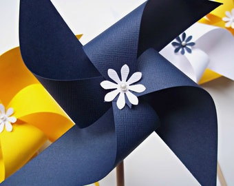 Nautical Wedding Decor. 10 Paper Pinwheels in Navy White & Yellow.