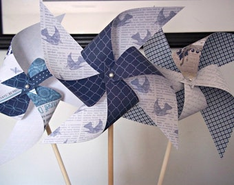 Nautical Theme Wedding Paper Pinwheels. Blue Yellow & White. (Set of 6) Beach Spring Sailing