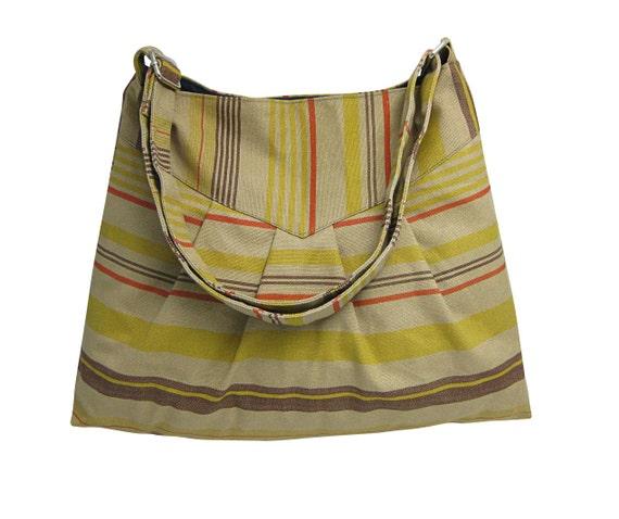 canvas purse / shoulder bag / messenger bag / diaper bag, colorized stripes,adjustable strap, zipper pocket
