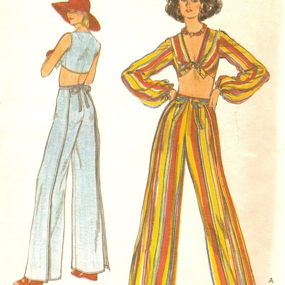 "Front Tied Midriff Top Deep V-neck Wrap Around Pants Sewing Pattern Vogue 9512 Uncut Bust 32 1/2"" Waist 25"""