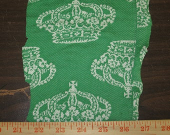 White Royalty Crown on Green Knit