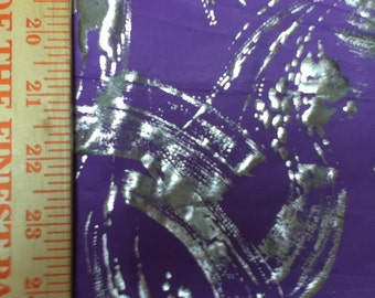 Silver Foil Splash on Lavender Purple Poly Lycra.