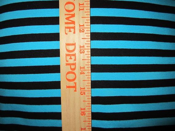 "apx. 3/8"" Turquoise Blue & Black Cotton Lycra Stripe Knit FAbric"