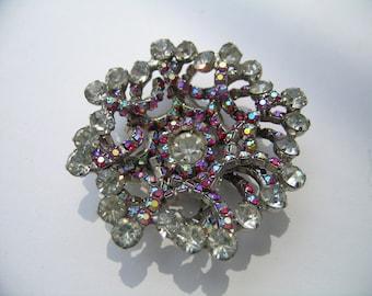 Juliana 3 dimensional Rhinestone and Crystal AB spiral brooch        VJSE