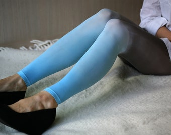 CLEARANCE SALE - Dyed ombre leggings from darh grey to turquoise