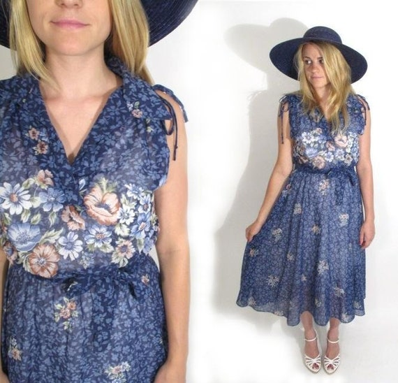 1970s Sheer Cotton Floral Maxi Dress.  Size S-M.