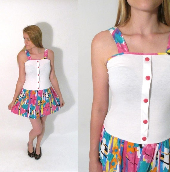 SALE// Vintage 1980s Micro Mini Multicolored Sun Dress. Size XS-S.