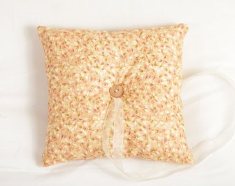 Vintage Ring Bearer Pillow - Pink, Ivory and Green Leaf fabric