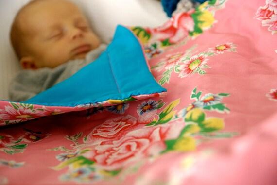 SALE 30% - Couverture rose pivoine - Pink blanket