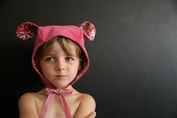 Chapeau chat rose fushia, 12M/5 ans  - Cat fushia hat 12M/5years - SALE 50%