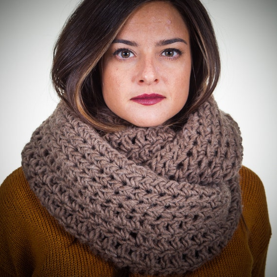 Hand Crocheted Thick Over Sized Taupe Cowl Scarf