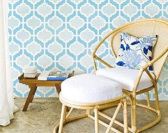 Large Moroccan Wall Stencil Casbah Trellis for DIY Wallpaper Decor