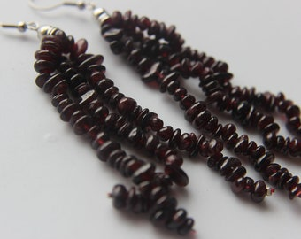 Genuine Dark Red Garnet Gemstone Chandelier Pierced Dangle Earrings