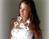 Hawaiian Blooms - White Flower Scarf Necklace Hand made crochet Gift for her Womens fashion Sports team colors