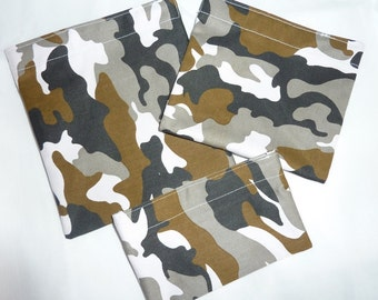 SALE!!  RE-USABLE Bags. Camo Twill. Set of 3.