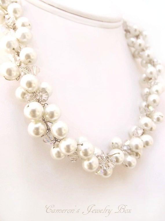 Beaded Pearl Necklace, Bridal Necklace, Wedding Jewelry, Swarovski Crystals, White Bride Statement Necklace