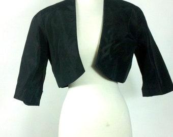 Vintage Black Bolero Victorian Gothic Short Taffeta Cropped Jacket