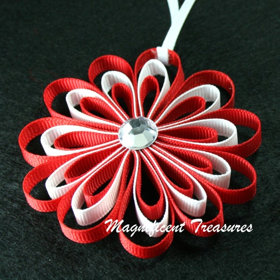 Items similar to Red and White Ribbon Flower Christmas Tree Ornament on Etsy