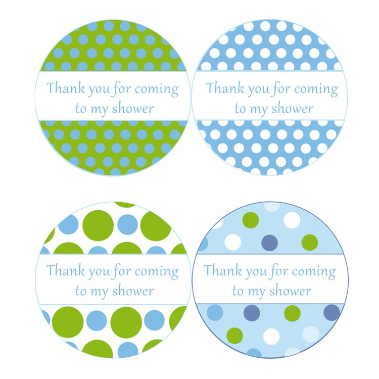 Baby Boy Gift Tags : Instant download blue green polka dots baby shower party thank