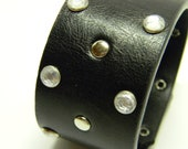 Vegan Black Leather Cuff Bracelet