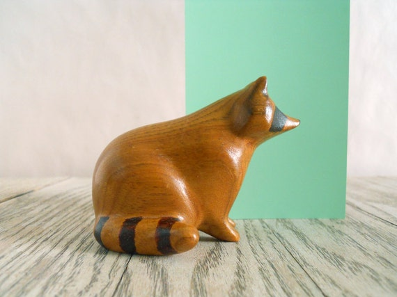 Vintage Wooden Raccoon - Childs Toy