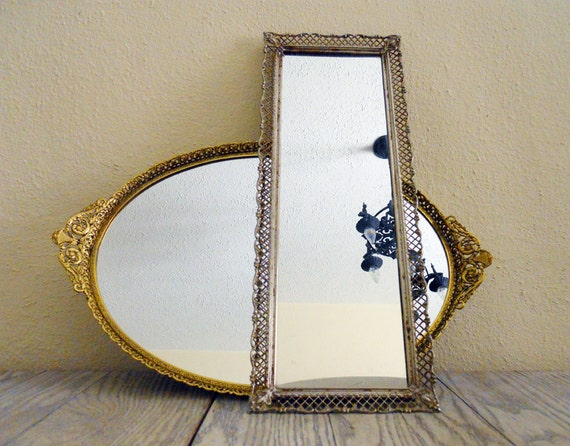 Large Rectangular Vintage Filigree Mirror Vanity Tray
