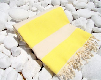 High Quality Hand - Woven Turkish Cotton Bath,Beach,Pool,Spa,Yoga,TravelTowel or Sarong-Natural Cream and Yellow color