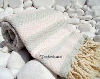 Turkishtowel-Highest Quality Pure Organic Cotton,Hand Woven,Bath,Beach,Spa,Yoga Towel or Sarong-Mathing-Natural Cream and Pale Greyish Blue