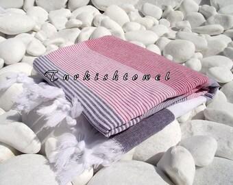 Turkishtowel-High Quality,Hand Woven,Light Cotton Bath,Beach,Pool,Spa,Yoga,Travel Towel or Sarong-White,Purple and Dark Red Stripes