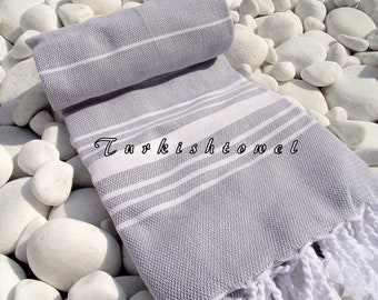 Turkishtowel-Soft-High Quality,Hand Woven,Cotton Bath,Beach,Pool,Spa,Yoga,Travel Towel or Sarong-Ivory Stripes on Pale Grey,Gray