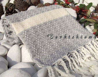 Turkishtowel-Highest Quality Pure Organic Cotton,Hand Woven,Bath,Beach,Spa,Yoga Towel or Sarong-Mathing-Natural Cream and Gray