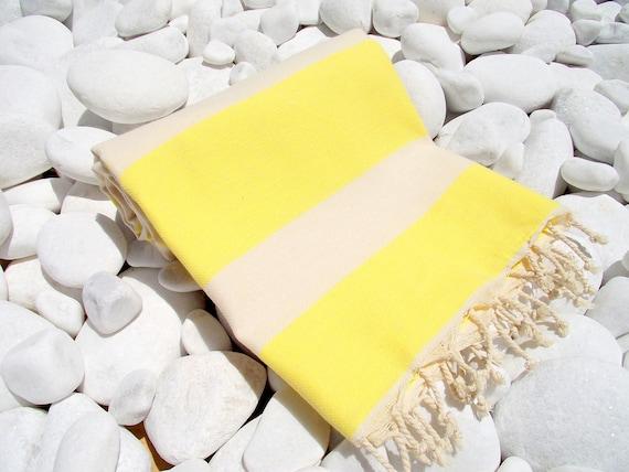High Quality Hand - Woven Turkish Cotton Bath,Beach,Pool,Spa,Yoga,TravelTowel or Sarong-Natural Cream and Yellow color