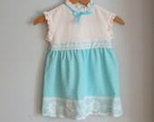 1960s BLUE RUFFLED Girls Dress....size 5 girls.....kids. children. ribbons. lace. ruffles. peasant. 60s dress. floral. summer dress