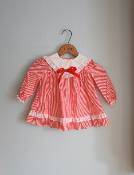 60s CANDY CANE Striped Girls Dress....size 2 girls...kids. children. striped. holiday. candy. candy cane. lace. red ribbon.