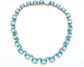 ART DECO Blue Czech Crystal Open Back Necklace