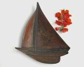 Vintage Metal Sailboat Dish, PMC