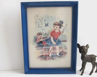 Children in the Garden Print, Blue Frame, Adorable