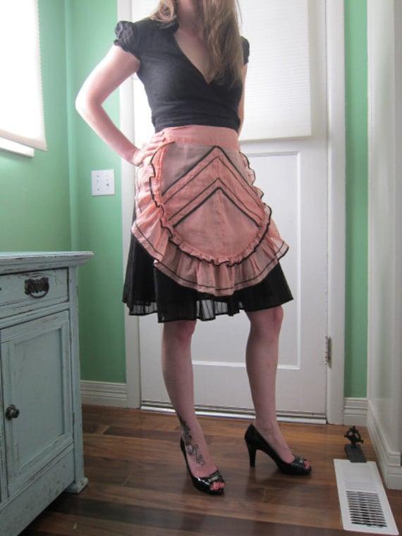 Pink and Black Ruffle Ric Rac Apron with Chevron Pocket, Waitress, Hostess, Cute