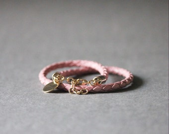 Double Wrap Braided Leather Bracelet(PALE PINK)