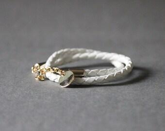 Double Wrap Braided Leather Bracelet(WHITE)