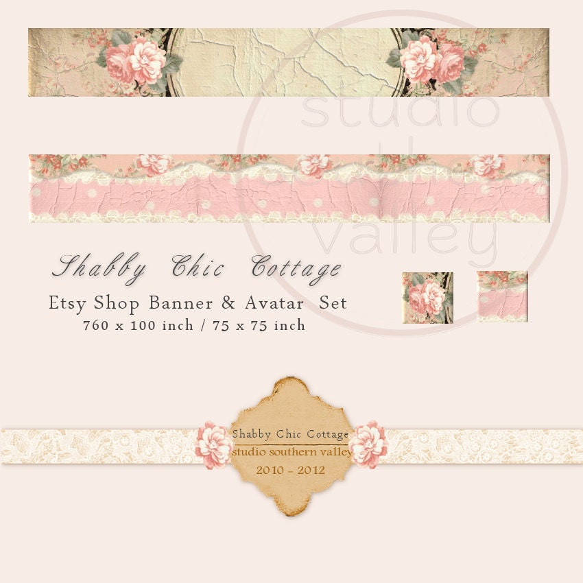 shabby chic cottage etsy shop banner and by. Black Bedroom Furniture Sets. Home Design Ideas